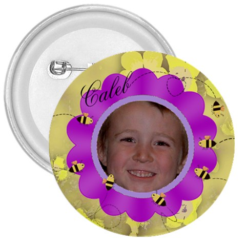 Bees And Flower Fuschia And Yellow By Chere s Creations   3  Button   2oz8fxoakaet   Www Artscow Com Front