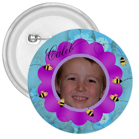 Bees And Flower Fuschia And Blue By Chere s Creations   3  Button   Poxe7vqku9in   Www Artscow Com Front
