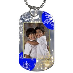 Blue & Gray Lights W/snowflakes 2 Sided Dog Tags By Ivelyn   Dog Tag (two Sides)   Jqq6k3misyfl   Www Artscow Com Back