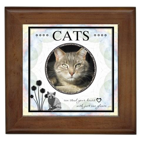 Cats Can Steal Your Heart Framed Tile By Lil    Framed Tile   G1dsorv25kya   Www Artscow Com Front