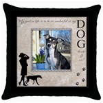 Dog Throw Pillow Case - Throw Pillow Case (Black)