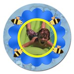 Flower and Bees Blue - Magnet 5  (Round)