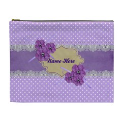 Cosmetic Case  Xl  Violet With Lace By Jennyl   Cosmetic Bag (xl)   Cawjoi6ofjmb   Www Artscow Com Front