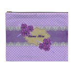 Cosmetic Case- XL- Violet with Lace - Cosmetic Bag (XL)