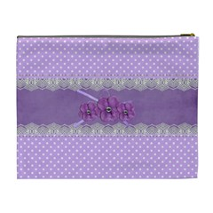 Cosmetic Case  Xl  Violet With Lace By Jennyl   Cosmetic Bag (xl)   Cawjoi6ofjmb   Www Artscow Com Back