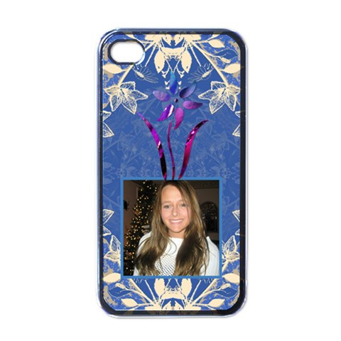Blue Floral Apple Iphone 4 Case By Lil    Apple Iphone 4 Case (black)   2vyer6hrnwhj   Www Artscow Com Front