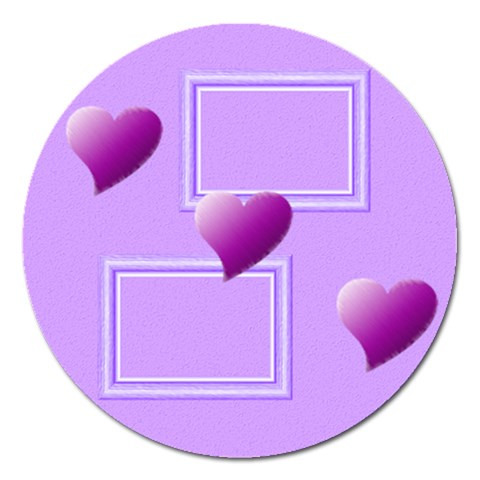Purple Hearts   5  Magnet By Daniela   Magnet 5  (round)   Dml1rlzpqido   Www Artscow Com Front