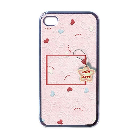 With Love Pink   Iphone Case By Daniela   Apple Iphone 4 Case (black)   Kxvgw56nur7q   Www Artscow Com Front