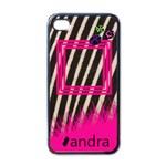 Pink zebra - i-PHONE case - Apple iPhone 4 Case (Black)