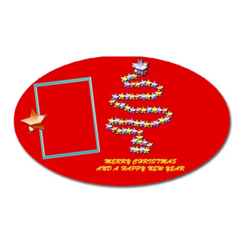 Merry Christmas Wishes Red   Oval Magnet By Daniela   Magnet (oval)   T0ocrw6kopi5   Www Artscow Com Front