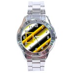 Grey yellow stainless steel watch - Stainless Steel Analogue Watch