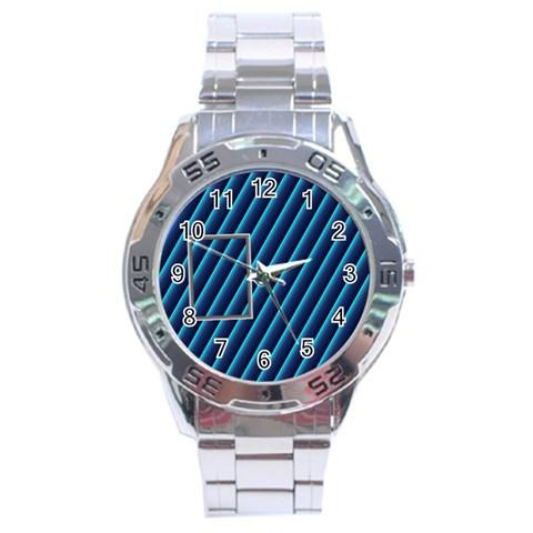 Blue Metal Stainless Steel Watch By Daniela   Stainless Steel Analogue Watch   Niys8gylhgkz   Www Artscow Com Front