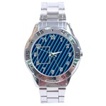 Blue metal stainless steel watch - Stainless Steel Analogue Watch
