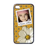 Iphone Case Yellow flower pattern - Apple iPhone 4 Case (Black)