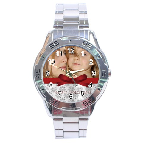 Christmas By Wood Johnson   Stainless Steel Analogue Watch   1lch3c19ehsm   Www Artscow Com Front