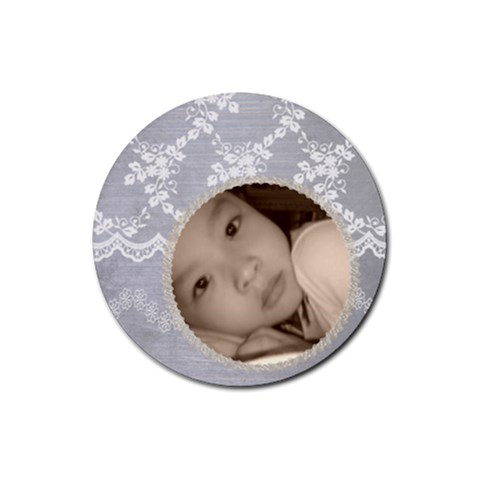 Pretty Grey Custom Round Drink Coaster By Purplekiss   Rubber Round Coaster (4 Pack)   Rxpsjiu851iu   Www Artscow Com Front