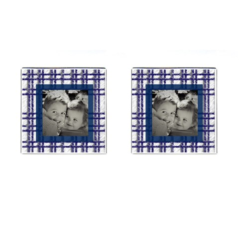 Blue Plaid Picture Cufflinks By Heatherr   Cufflinks (square)   Liqmh96mc4xz   Www Artscow Com Front