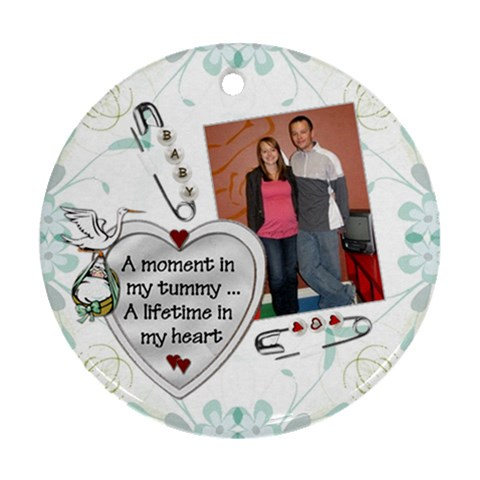 Pregnancy Round Ornament By Lil    Ornament (round)   Yvbpyvmv8uwp   Www Artscow Com Front
