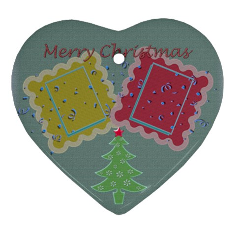 Merry Christmas Tree   Heart Ornament By Daniela   Ornament (heart)   5hplzm4wpa6e   Www Artscow Com Front