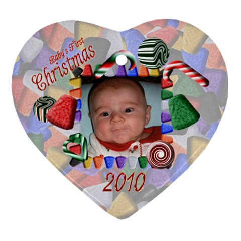 Baby s First Christmas 2010 By Chere s Creations   Ornament (heart)   Ftj5epksacmy   Www Artscow Com Front