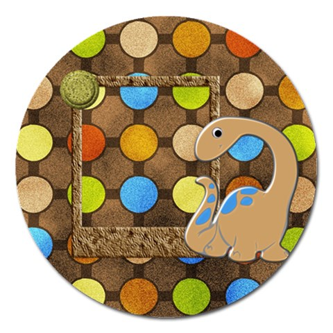 Dinosaur! Round Magnet 1 By Lisa Minor   Magnet 5  (round)   82lzokuo7dhk   Www Artscow Com Front