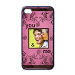 art nouveau you and me pink i phone case - Apple iPhone 4 Case (Black)