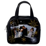 black sparkling with gold snowflakes purse - Classic Handbag (One Side)