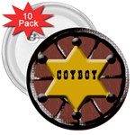 cowboy badge 10 pack - 3  Button (10 pack)