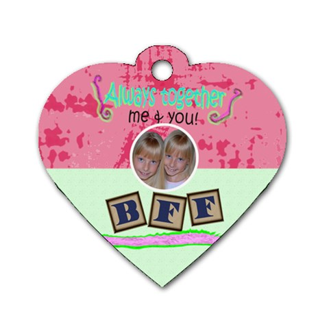 Best Friends Forever Heart Dog Tag By Danielle Christiansen   Dog Tag Heart (one Side)   Tt49mj6gb6oo   Www Artscow Com Front