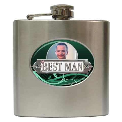 Best Man Hip Flask By Lil    Hip Flask (6 Oz)   Bq6ly42dio4i   Www Artscow Com Front