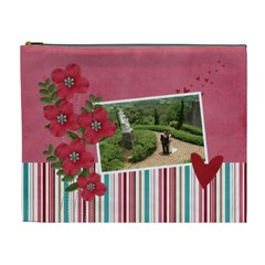 Cosmetic Bag (xl)  Red Flowers With Hearts By Jennyl   Cosmetic Bag (xl)   4qvctrjdepvh   Www Artscow Com Front
