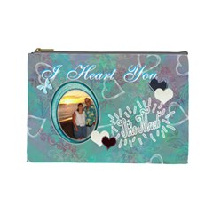 Love You This Much Aqua By Karen   Cosmetic Bag (large)   Gs7jkm3kpohg   Www Artscow Com Front