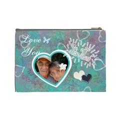 Love You This Much Aqua By Karen   Cosmetic Bag (large)   Gs7jkm3kpohg   Www Artscow Com Back