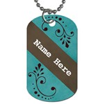 Dog tage- Blue with swirls - Dog Tag (One Side)