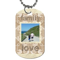 Mocha Damask Family Love Double Sided Dogtag By Catvinnat   Dog Tag (two Sides)   10tupx4plmc7   Www Artscow Com Front