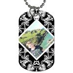 Art Nouveau offset diamond dog tag - Dog Tag (Two Sides)