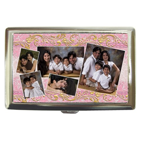 Pink Family Money Case With Gold Swirls By Ivelyn   Cigarette Money Case   3ho0g3ktij29   Www Artscow Com Front