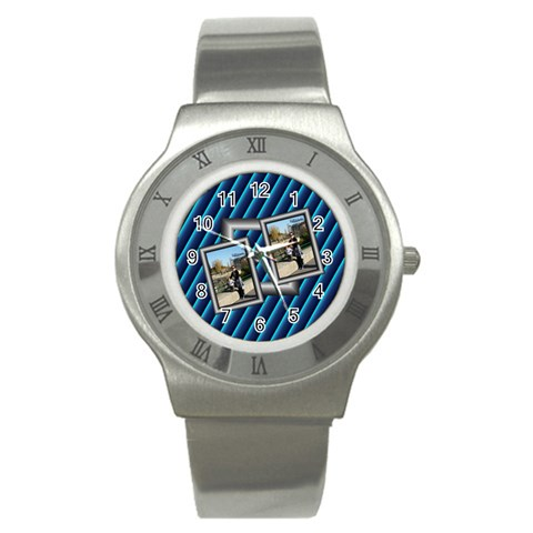 Blue Sports Watch By Daniela   Stainless Steel Watch   Za2q2g3r97pc   Www Artscow Com Front