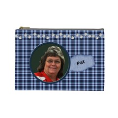 Lg Cos Bag Navy Plaid For Pat Dec 2010 By Lyn Clarke   Cosmetic Bag (large)   Mjflq1i23gdb   Www Artscow Com Front