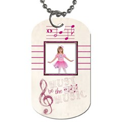 Must Be The Music Pink Ballerina  Dog Tag By Catvinnat   Dog Tag (two Sides)   Fhji57pf3d14   Www Artscow Com Front