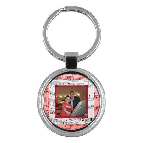Red Music Round  Keyring By Catvinnat   Key Chain (round)   0z9vajcqujw6   Www Artscow Com Front