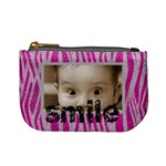 Funk pink furry zebra smile mini coin purse