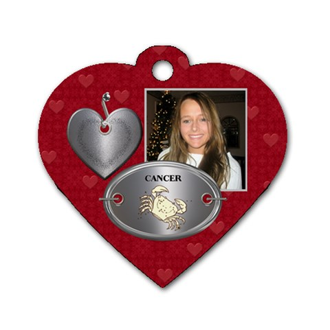 Cancer Zodiac Heart Dog Tag by Lil Front
