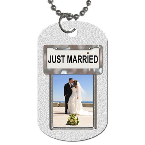 Just Married Dog Tag By Lil    Dog Tag (one Side)   I557oan2k89f   Www Artscow Com Front