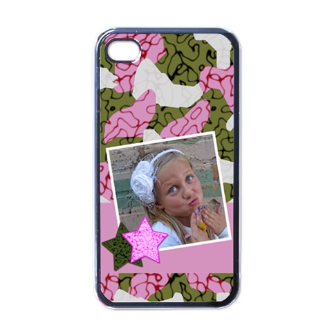 Pink Cammo Iphone Case By Amanda Bunn   Apple Iphone 4 Case (black)   Ixba2cu46lc7   Www Artscow Com Front