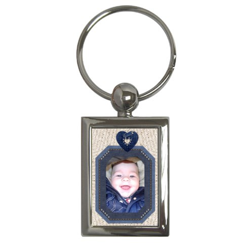 Denim Frame Rectangle Key Chain By Lil    Key Chain (rectangle)   Mvek9puoo83t   Www Artscow Com Front