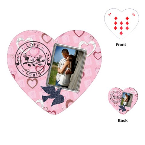 Love Birds Heart Playing Cards By Lil    Playing Cards (heart)   D0rhmmpkz92w   Www Artscow Com Front