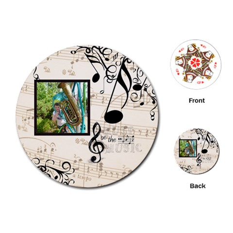 Must Be The Music Round Playing Cards By Catvinnat   Playing Cards (round)   55laylrf53ib   Www Artscow Com Front