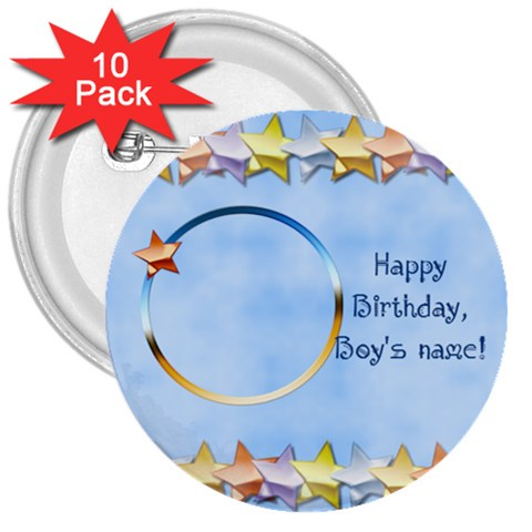 Happy Birthday Boys Buttons By Daniela   3  Button (10 Pack)   Bjv0sezvbg0h   Www Artscow Com Front