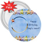Happy Birthday Boys buttons - 3  Button (10 pack)